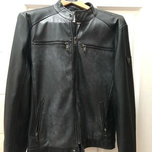 Men's Guess Size Medium Black Faded Leather Jacket